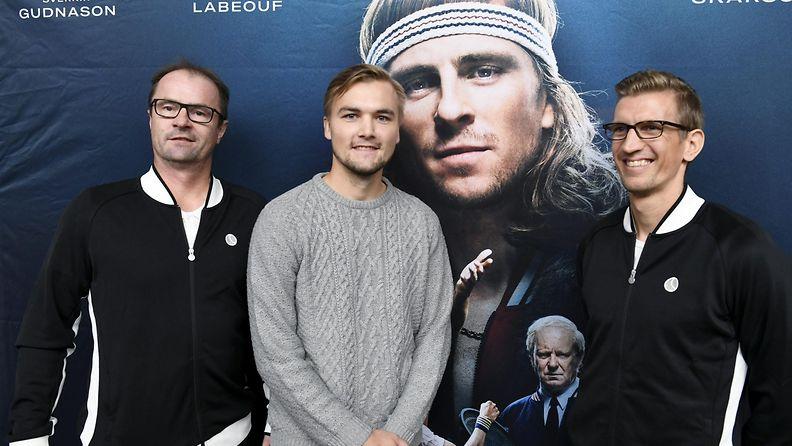 Veli Paloheimo, Henrik Sillanpää ja Jarkko Nieminen Borg/McEnroe-pressissä 4.10.2017