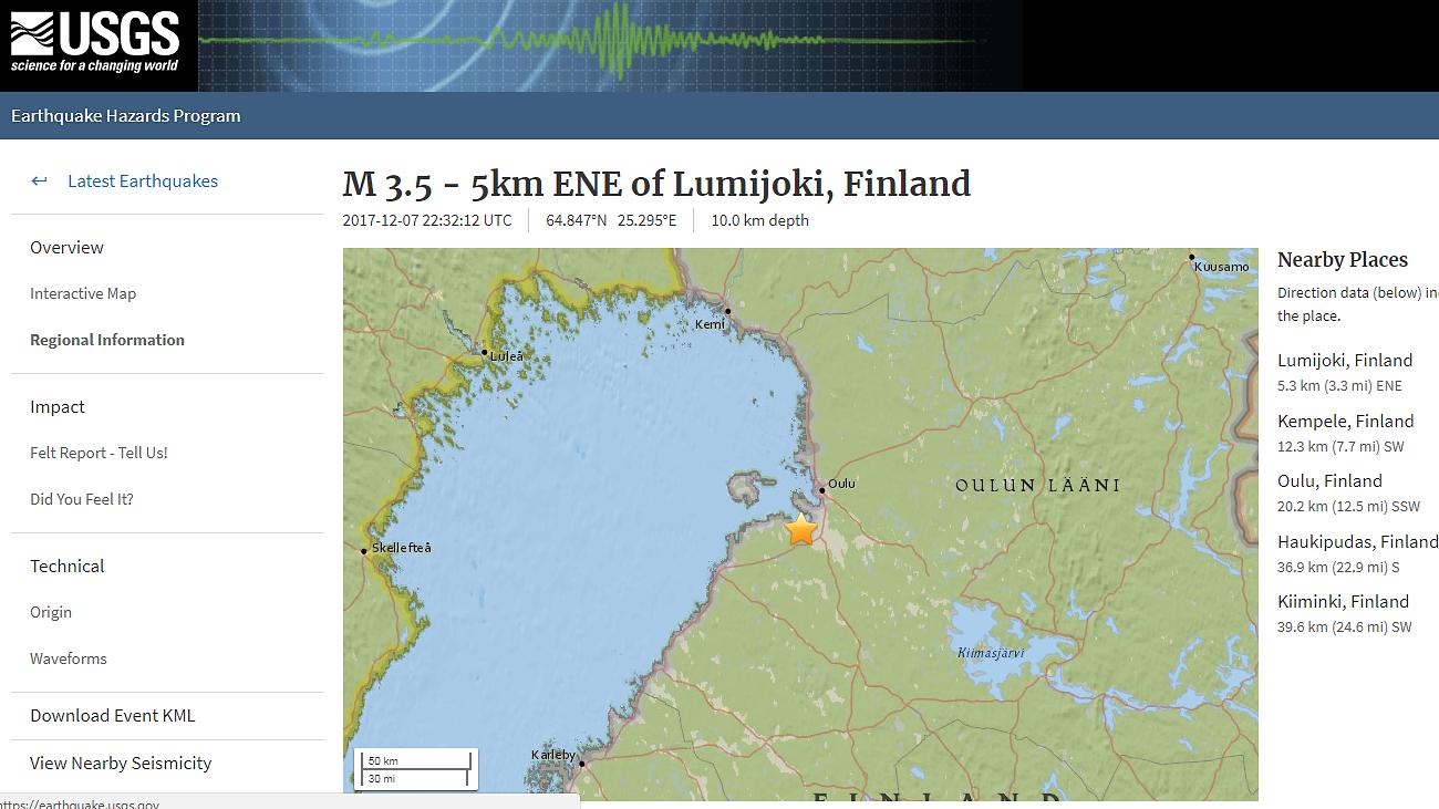 Maanjäristys Oulu
