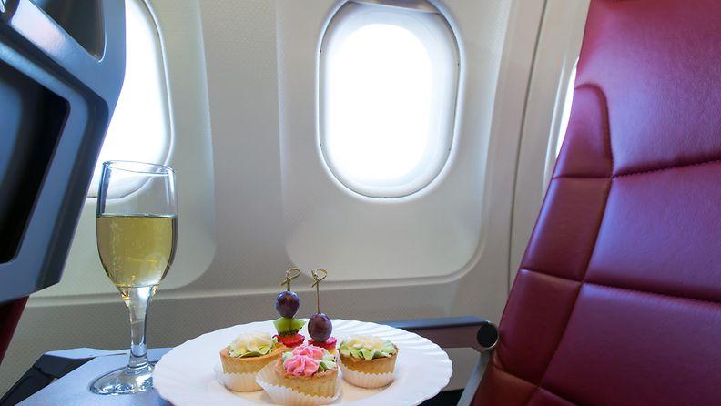 lentokone,, ateria, samppanja