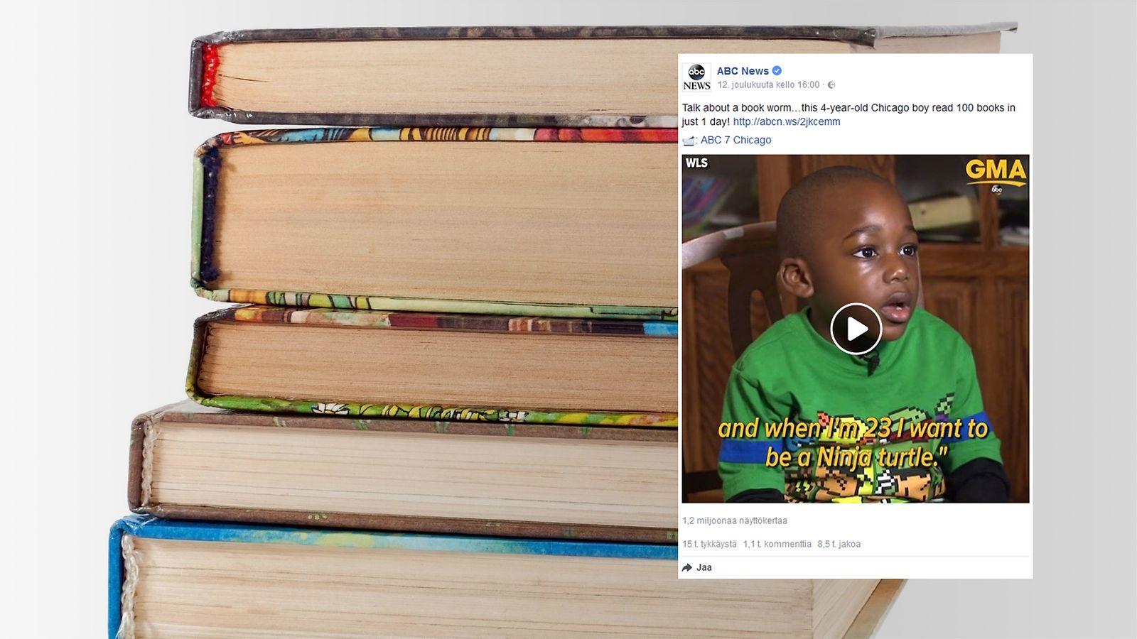 4-vuotias poika luki 100 kirjaa yhdessä päivässä – tempausta seurattiin suorassa Facebook ...