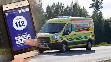 AOP ambulanssi kuvitus 112 hätänumero hätäpuhelu 1.03629294