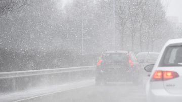 Talvi liikenne lumi kuvituskuva tie auto 3