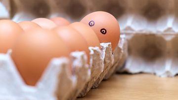muna silmillä, kananmunat