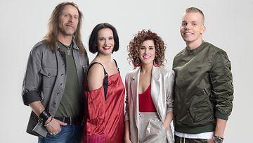 Idols-tuomaristo 2018: Jone Nikula, Maija Vilkkumaa, Jannika Wirtanen ja Elastinen