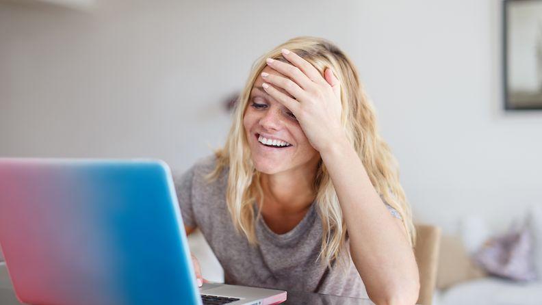 nainen,-tietokone