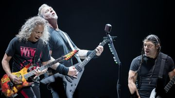 Metallica Kirk Hammett, James Hetfield, Robert Trujillo Globen Tukholma 7.5.2018