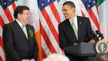 Brian Cowen ja Barack Obama (Kuva: Matthew Cavanaugh-Pool/Getty Images)