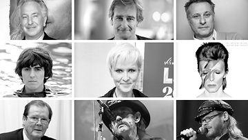Syöpään kuolleita: Hanna-Riikka Siitonen, Lemmy Kilmister, Roger Moore, George Harrison, Alan Rickman, Riki Sorsa, Michael Nyqvist, David Bowie, Pekka Myllykoski
