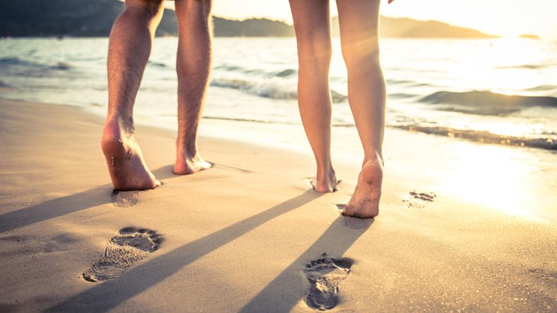 kesä, ranta, pari, jalat