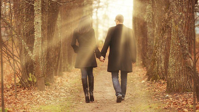 syksy, pariskunta, kävely