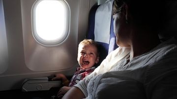 itkevä, lapsi, lentokone