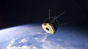 Havainnekuva Suomi 100 -satelliitista avaruudessa. Kuva: Aalto-yliopisto