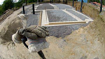 Omakotitalo omatotitalotyömaa työmaa rakentaminen rakennustyömaa AOP