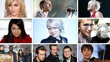 Vuoden 2009 hitintekijöitä: Madonna, Linkin Park, Pink, David Guetta, Alexander Rybak, The Baseballs, The Black Eyed Peas, Anna Abreu, Madonna
