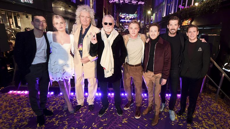 Bohemian Rhapsody lokakuu 2018: Rami Malek, Lucy Boynton, Brian May, Roger Taylor, Ben Hardy, Joseph Mazzello, Gwilym Lee, Allen Leech