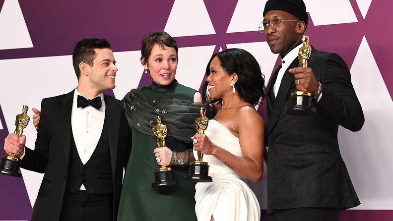 Rami Malek, Olivia Colman, Regina King ja Mahershala Ali Oscar-gaala 25.2.2019