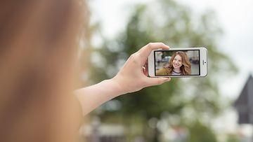 kuva, kännykkä, tyttö, selfie