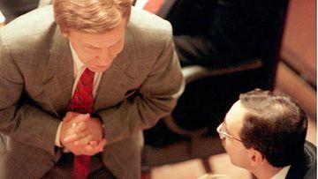 Pekkarinen ja Zyskowicz eduskunnassa 19.10.1995