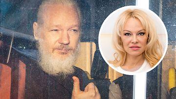 Julian Assange (2019) ja Pamela Anderson (2018)