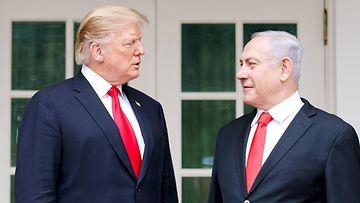 Donald Trump ja Benjamin Netanjahu Valkoisessa talossa 25.3.2019