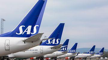 SAS koneita Oslo Gardermoen lentokenttä 26.4.2019
