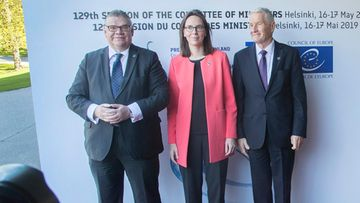 Euroopan neuvoston kokous Helsinki 17.5.2019: Timo Soini, Amelie de Montchalin ja Thorbjørn Jagland