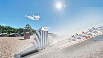 uimaranta kuvitus kesä helle aurinko AOP