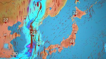 Ennätyshelle riivaa Japania – sääkartta hehkuu punaisena