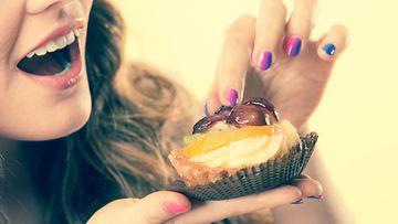 ruoka, nainen, kakku