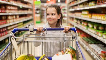 lapsi ruokakauppa ostoskärryt