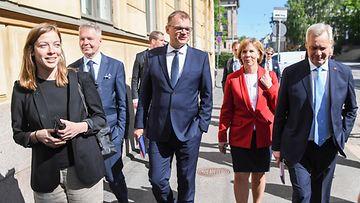 AOP Hallitusohjelman julkistus 3.6.2019 Li Andersson, Pekka Haavisto, Juha Sipilä, Pekka Haavisto, Anna-Maja Henriksson, Antti Rinne