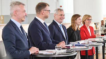 AOP Hallitusohjelman julkistus 3.6.2019 Pekka Haavisto, Juha Sipilä, Antti Rinne, Li Andersson, Anna-Maja Henriksson 3