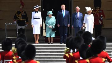 Donald Trump Britannia valtiovierailu 3.6.2019 Melania Trump, kuningatar Elisabet, Donald Trump, prinssi Charles, herttuatar Camilla 2
