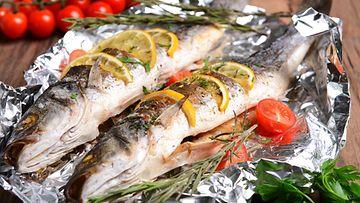 grillattu kala foliossa