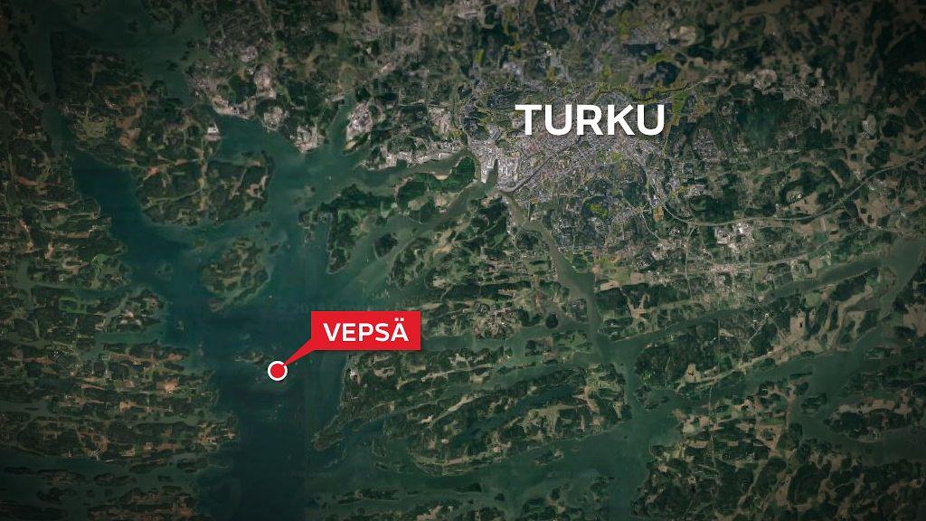Vene Sai Vuodon Turun Saaristossa Pelastustoissa Helikopteri Ja