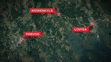 porvoo-koskenkylä-loviisa-kartta