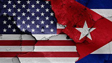 Yhdysvallat USA Kuuba kuvituskuva seinämaalaus 2015