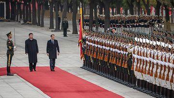 Kiinan presidentti Xi Jinping isännöi Ranskan presidentti Emmanuel Macron Peking 6.11.2019