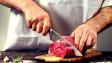 liha, kokki, veitsi