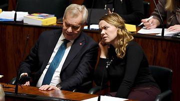 Antti Rinne ja Katri Kulmuni eduskunta 19.11.2019
