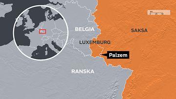 Palzem Saksa Luxemburg -kartta