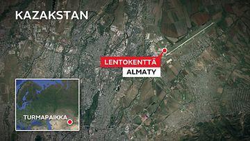 Almaty-lentokenttä-kazakstan-kartta