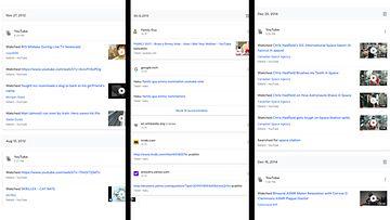 Kuvakaappauksia Googlen MyActivitysta