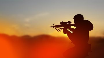 kuvituskuva sotilas siluetti