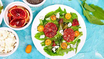 Veriappelsiini feta appelsiini salaatti