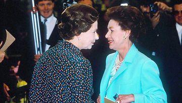 Kuningatar Elisabet ja prinsessa Margaret 1985