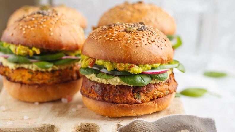 hampurilainen kasvisburgeri kasvisruoka kasvishampurilainen