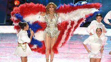 Jennifer Lopez ja tytär Emme Super Bowl