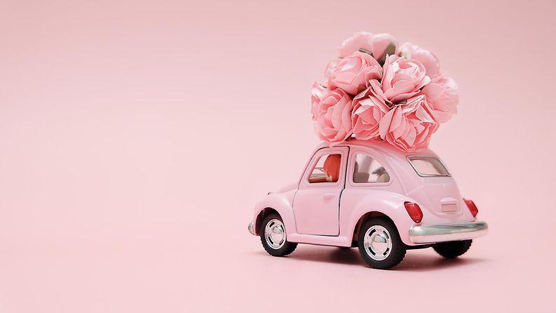 pieni pinkki auto