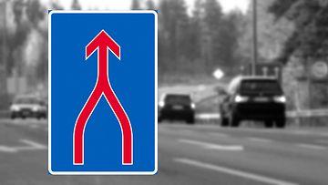 ajokaistojen yhdistyminen liikennemerkki vetoketjuperiaate